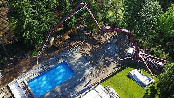 混凝土泵车现场施工展示